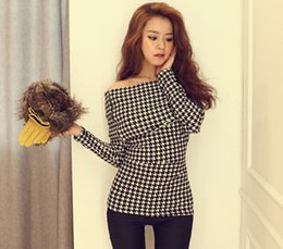 Free Shipping Hot Spring Fashion Women's Tops Tee Slash Neck Off Shoulder Houndstooth Plaid Tops T-shirt Red White