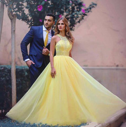 Yellow A Line Prom Dresses Long Sexy Jewel Beads Chiffon Party Dresses Evening Wear Sexy Back Zipper Formal Cocktail Dresses