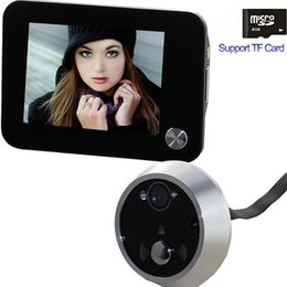 2017 visionneuse vidéo 10pcs / lot numérique Peephole Door Viewer sans fil sonnette caméra Eye Video Intercom Support TF carte Night Vision Home Security Livraison gratuite visionneuse vidéo ventes