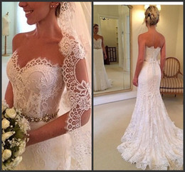 2019 Hot Sale Sweetheart Mermaid Wedding Gown Back Buttons Beaded Belt Mermaid Wedding Dresses New Arrival Design Sexy Robe De Marriage