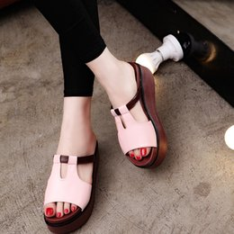 NEW summer new women high-heeled sandals and slippers women casual thick crust muffin slope with sandals and slippers shoes slippers