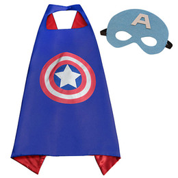 Wholesale 70 cm Kids Superhero Capes with Masks Batman Spiderman Wonder woman Captain America for Kids Halloween Birthday Dress UP Party Gifts