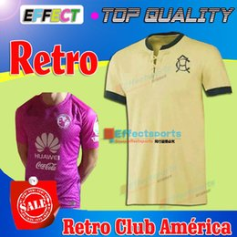 Wholesale 2016 Top Quality AÑOS DEL CLUB AMÉRICA Soccer Jerseys Retro Jerseys Centenario Con Caja Home Yellow Club America Football shirts