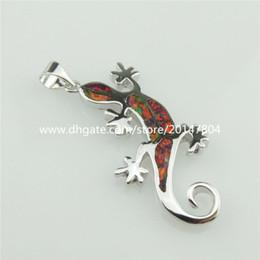 Wholesale 20324 Sterling Silver Lady Animal Lizard Gecko Red Lucky Australian Opal Pendant