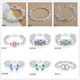 Wholesale Crystal Butterfly Bracelet Set - Mixed style 8 pieces a lot high grade women's gemstone sterling silver Bracelet Grapes beads Plum flower Butterfly 925 silver Bracelet EMB25