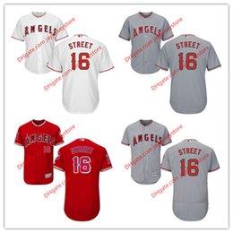 Wholesale 16 Huston Street Jersey MLB Baseball Los Angeles Angels of Anaheim Jerseys Flexbase Cool Base Red Grey White size XL