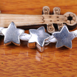 Hualu 7300 100pieces 12*11mm 3D Star Spacer Beads 5mm Hole Retro Silvery Pendant Tibetan Silver Jewelry Making Fingding necklace Bracelet