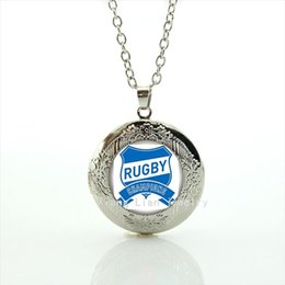 Fashion men jewelry glass cabochon locket necklace sport football picture Rugby Champions logo accessory for men at party NF007