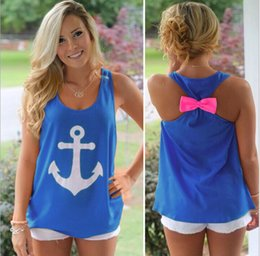 Wholesale-2016 Anchor Tank Tops Graphic Tee Women Back Bow Sleeveless shirt Summer Style Debardeur Woman