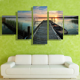 5p modern Home Furnishing HD picture Canvas Print art wall of the sitting room children room decoration theme -- Small bridge by the lake