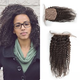 G-EASY Silk Base Closure Unprocessed Peruvian Virgin Hair Human Hair Closure Afro Kinky Curly Silk Base Top Closures