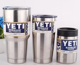 Wholesale YETI Rambler Stainless Steel oz oz oz Cups Cooler Tumbler Travel Vehicle Beer Mug Double Wall Bilayer Vacuum Insulated Mugs Car Cups