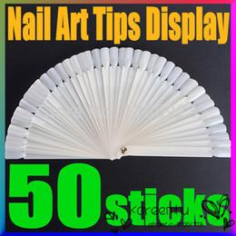 50Pcs régler l'affichage Conseil Fan Pliable blanc naturel Art Faux ongles Conseils Sticks polonais Outil pratique Fan à partir de pratique bord du ventilateur clou fabricateur