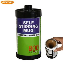 Wholesale 1 Piece Retro Film Self Stirring Mug Bottle Portable Automatic Protein Powder Shaker Blender Liquid Coffee Mixer Cup Canecas