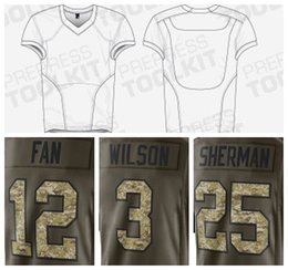 Wholesale CHEAP mens customized shirts with SEAHAWKS design font Salute To Service wilson lynch sherman accept mix orders and drop shipping