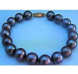 Charming 9-10mm natural south seas black pearl bracelet 7.5-8inch 14K gold clasp