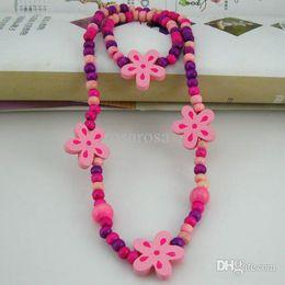 Wholesale Children jewelry best baby products children kid jewelry set handmade wood flower necklaces CS09