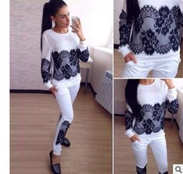Wholesale 2016 sports leisure suit sweater pants two piece composite lace solid color explosion models in Europe and America