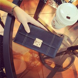 Wholesale 2016 Hui pin winter Euramerican style ultra soft leather car line long wallet Ladies Leather clip bag female tide