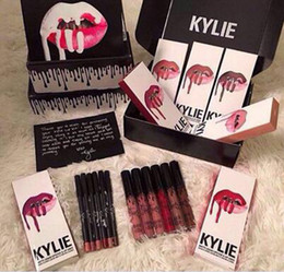 Wholesale 2016 colors New Kylie Jenner Lip Kit Gloss Lipstick Lipliner Velvet Boxset Matte Lipstick Waterproof Makeup Beauty