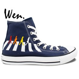 Wholesale The Beatles Abbey Road High Top Black Painted Canvas Shoes Man Woman Hand Painted Art Wen Sneakers Girls Boys Gifts