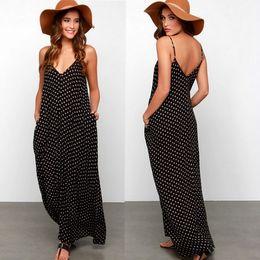 Wholesale Sexy Women Summer V neck Dot Dresses Braces Skirt Plus Size Casual Dresses Sleeveless Backless Pocket Party Black Bohemian Clothing