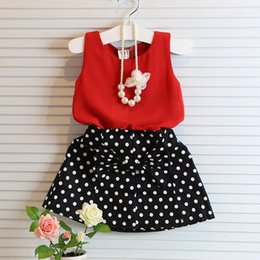Wholesale Casual Mini Skirt Outfits - 2016 Children Baby Kids Girls Polka Dot Sleeveless Dress 2PCS Chiffon Vest Shirt + Dot Mini Skirts Outfits Dress 2-7Y