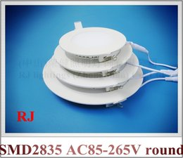 Wholesale flat light super thin round recessed ceiling LED panel lamp light W W W W W optional AC85 V round embeded installation