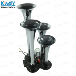 Wholesale King Way Chrome Four Trumpet Compact Train Air Horn Super Loud Fit All Cars All Metal