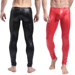 Wholesale Sexy Lingerie Trouser - Wholesale-2016 New Arrival Fashion Men's trousers Sexy Lingerie Bodysuit Faux Leather One Piece Clubwear Products Free Shipping