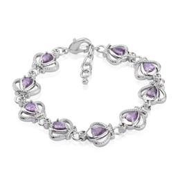 New Arrival Princess Crown 18K White Gold Plated Violet Pear Zircon Charm Bracelet Women's honorable Party Bracelet