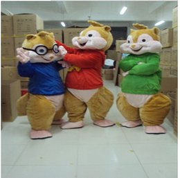 Wholesale Alvin and the Chipmunks Mascot Costume Chipmunks Cospaly Cartoon Character adult Halloween party costume Carnival Costume