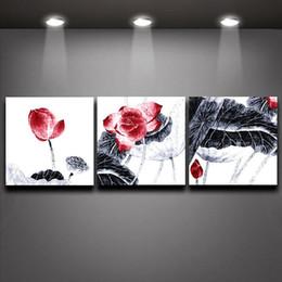 2016 фотографии панели 3 Панель Picture листья лотоса Китайский чернила стиль живописи Печать холст Искусство стены гостиницы домашнего офиса украшения фотографии панели клиренс