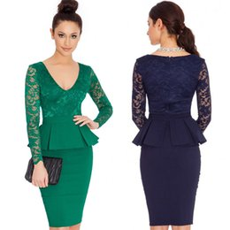 2016 New Arrival Hot Lace Long Sleeves Casual Dresses Slim Bodycon Pencil Dresses V Neck OXL Paneled Dresses