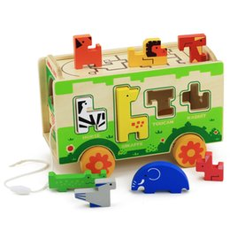 Wholesale MWSJ Early Educational Toys BENHO Wood Drag Bus Toy Animal Shape Classification Cognitive Enlightenment Wooden Puzzle Toys