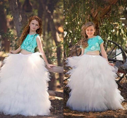 2016 Two Pieces Girls Pageant Dresses tulle Layers Tutu Appliques Flower Girl Dress Children Back Zipper Floor Length Kids Party Gowns