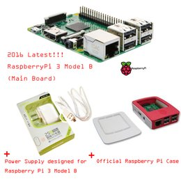 Wholesale NEW Freeshipping Latest Raspberry Pi Model B With Built in wireless and Bluetooth connectivity Power Supply Official Case