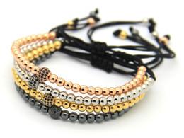 2016 High Grade Jewelry Wholesale 4mm 24K Gold, Rose Gold, Platinum &Black Round Beads with CZ Beads Braiding Macrame Bracelet