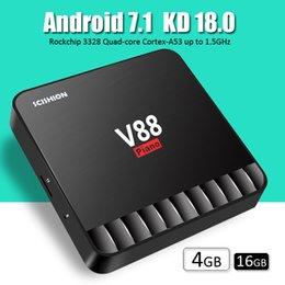 V88 piano android 7.1 tv box 4GB 16GB Rockchip rk3328 quad core kd player 18.0 4k smart media tv boxes bet MXQ Pro chromecast