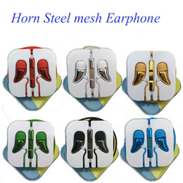 Wholesale Horn Steel Mesh Earphone Earset With Remote Mic Volume Control For IPhone Se s Samsung Android Mobile EAR189