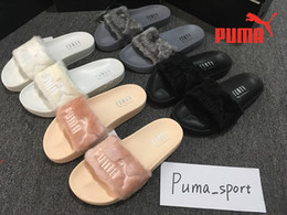 Wholesale Puma Leadcat Fenty Rihanna Shoes Women Slippers Indoor Puma Sandals Girls Fashion Scuffs Pink Black White Grey Fur Slides With Original Box