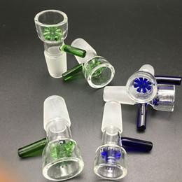 Promotion seaux de miel Cuvette épaisse en verre de 14mm colorée pour fumer 14mm 18mm vert mâle tiges en verre bleu cuvette pour bongs tuyau d'eau seau à miel