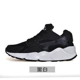 Wholesale air huarache run PA premium black white knit men women running shoes cheap original air huaraches for mens womens shoes size36