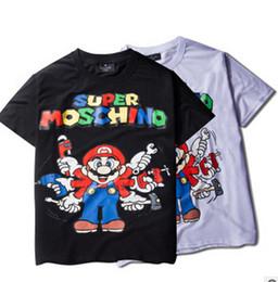 Wholesale 2016 brand HBA Hood by air Super Mario cartoon t shirt class service Men women s short sleeved T shirt Mario t shirt Top