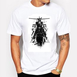 Wholesale 2016 summer Men T Shirts Cotton Printing Apache Helicopter Gunships Literary Personality Tee Shirt Men s T Shirts