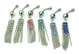 Body Piercing Fashion Belly Button Rings 316L Stainless Steel Barbells Dangle Rhinestone Tassel Navel Rings Jewelry