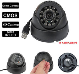 Wholesale 1MP USB CMOS HD indoor SD Card Dome LED IR Night Vision Security Surveillance Camera MINI Video Recorder System CWH K802 H303
