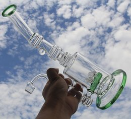 "12.5"" pulse new design glass water pipe glasss bong glass recycler including quartz banger nail glass oil rig two gridded inline perc"