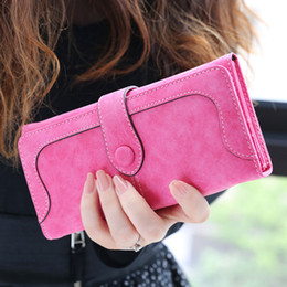 Acheter en ligne Portefeuille double portefeuille-Hot Sale Women Wallets Dull Polish Wallet Double Day Clutch Purse Wristlet Portefeuille Sacs à main Carteira Feminina