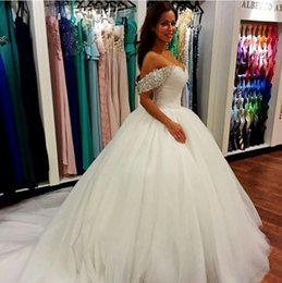 Ball Gown Wedding Dresses 2016 Off The Shoulder Sweetheart Puffy Wedding Gowns Zipper Back Custom Made Sweep Train Bridal Dress